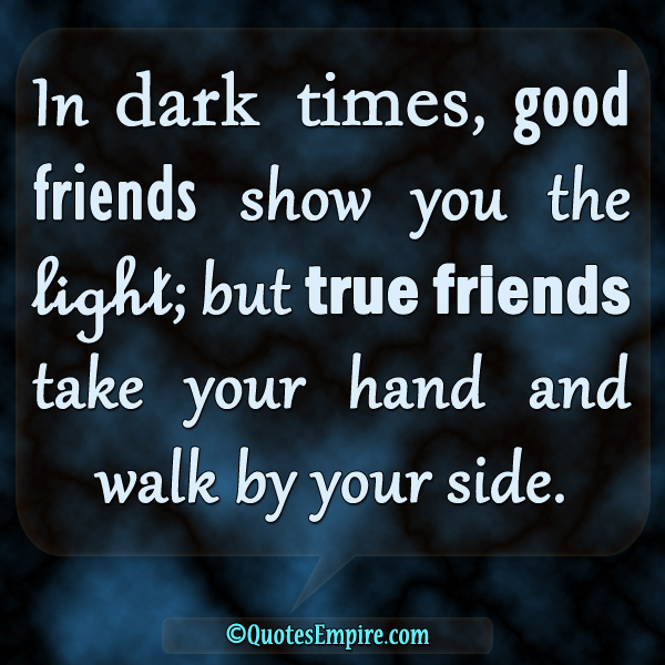 In dark times, good friends show you the light; but true friends take your hand and walk by your side.
