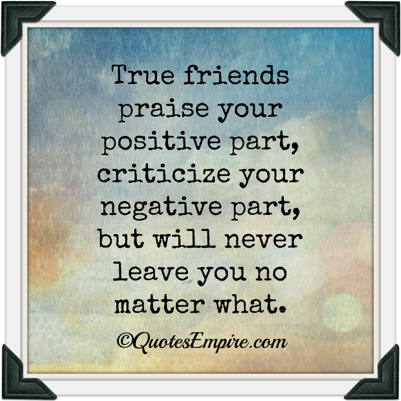 True friends praise your positive part, criticize your negative part, but will never leave you no matter what.